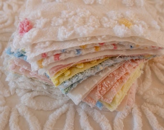 "Vintage Chenille Fabric Quilt Squares - 30 - 6"" squares - 15 pairs in pink, blue, yellow & white, all different - 500-83"