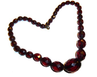 """Translucent Red Bakelite Faceted Bead Necklace. Cherry Juice Color. No Crazing, Lovely Graduated Beads. 15"""" Long. Tested Guaranteed. 1930s."""
