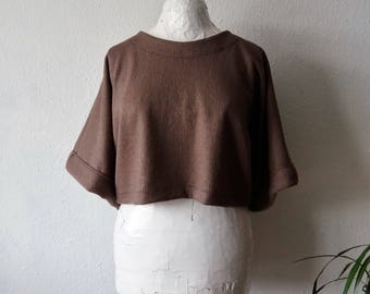 Wool sweater cropped top dusky plum earthy natural hippie clothing womens slow fashion chunky sleeves jumper boiled minimalist eco ethical
