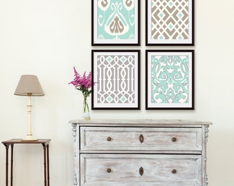 Ikat and Geometric Patterns (Series H) Set of 4 - Art Prints (Duck Egg, Silver Cloud and Truffle Brown) Modern Traditional Art Prints