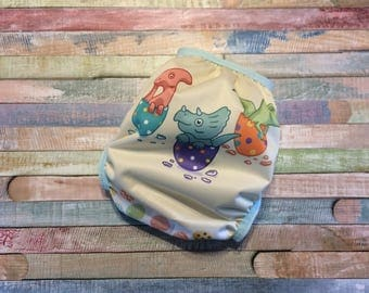 Ready To Ship One Size OS Dino Eggs Easter PUL Cloth Diaper Cover With Snaps