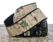 Camera Strap, Vintage Style Botanical Entomology, Bugs, dSLR, Camera Neck Strap, Canon camera strap, Nikon camera strap, Men's Women's,  265