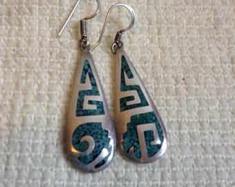 Exquisite 925 Sterling Silver Hand Made Earrings. Turquoise Inlay.  Made in Mexico.  Pierced. Vintage  1970.