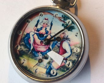 Erotic Automaton Vintage pocket watch. The lady on the swing