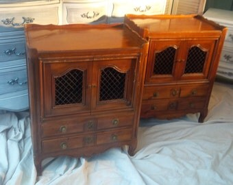 Nightstands PAIR / Custom PAINT to ORDER Vintage French Provincial/ Bedside Tables Paris Apartment Poppy Cottage Painted Furniture