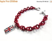 British flag bracelet, Union Jack jewelry, Red Union Jack chain mail bracelet