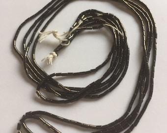 Vintage European Glass Bugle Beads -  GREEN BRONZE METALLIC