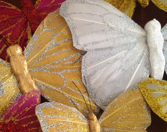 FAUX GLITTERED BUTTERFLIES for crafting / glittered feather wings