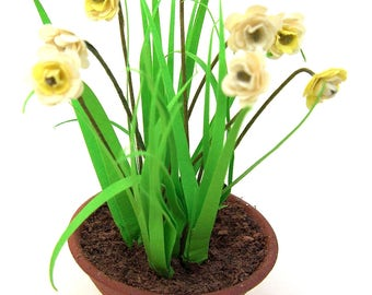 Flower Kit 12 PAPER WHITES narcissus  for dolls house Spring garden, miniature flower, scrapbooks