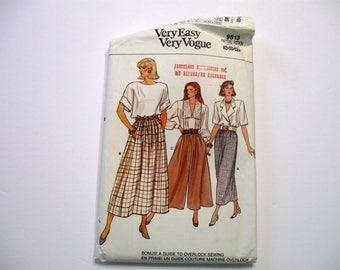 Skirt Pattern, Culottes Pattern, Sewing Pattern, 9813 Vogue Pattern,  Very Easy Pattern,  Uncut, Factory Folded