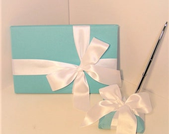 Wedding / Baby Shower / Sweet 16 Guest Book and pen holder set Blue -made to order ,Custom Made