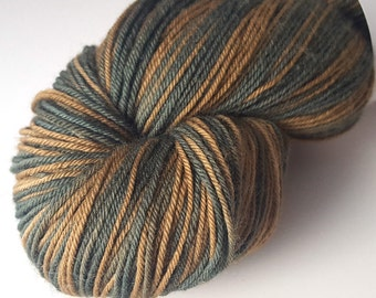 Forest Floor Fingering Weight Yarn, Naturally Dyed with Indigo and Black Walnut