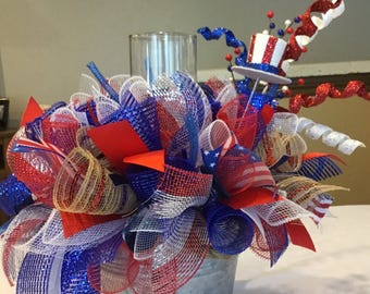 Ready to Ship 4th of July Centerpiece , Deco Mesh 4th of July Candle Ring Centerpiece , Independence Day Arrangement
