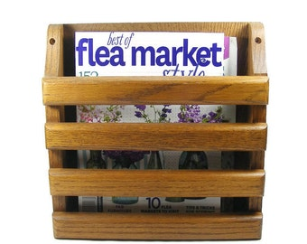 Wooden Magazine Rack Floor or Wall Mount Oak Magazine Holder