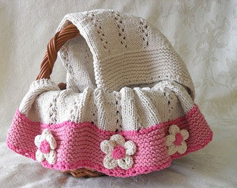 Hand Knitted Baby Girl Blanket, Cable Effect, Eyelet Edging, Afghan, Flower Baby Blanket, Car seat Cover, Throw - It's a Girl