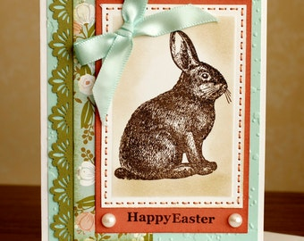 Hand STITCHED, Hand Stamped, Happy Easter, Chocolate Bunny Card and Envelope
