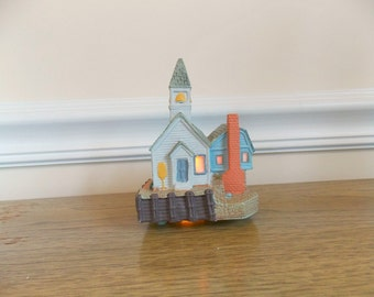 Vintage Church, Avon, Vintage Avon, Early American Church, Village, Christmas, Light Up Village, Avon Town Square, Avon Village, Small