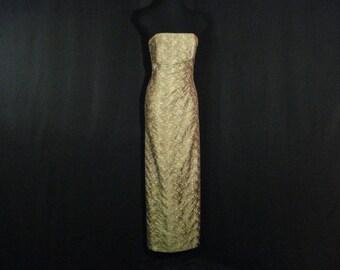 Long Formal Evening Dress Strapless Green & Gold Gown Jessica McClintock M