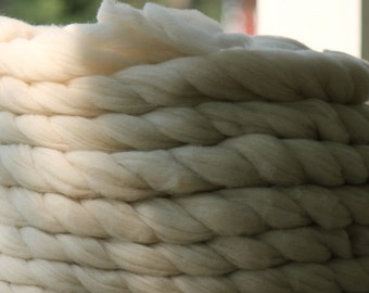 "Combed Top ""Summer"" - CVM wool in natural light oatmeal - cream, romeldale cvm roving"