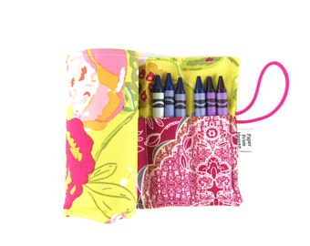 Crayon Roll - Lilly Belle  - flower crayon holder, toddler gift, girls gift, preschool coloring, kids journaling