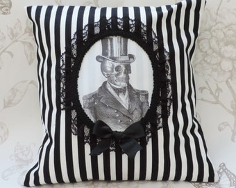 Steampunk gothic pillow, gothic home decor , skull pillow, victorian, cameo pillow, black stripes cushion ,decor