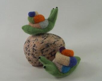 woodland snail, waldorf toy, plush snail toy, wool stuffie, velcro snail