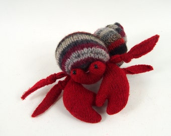 Hermit crab, waldorf toy, all natural toy, ecofriendly toy, sea creature, small stuffed animal, toy stuffed fish,