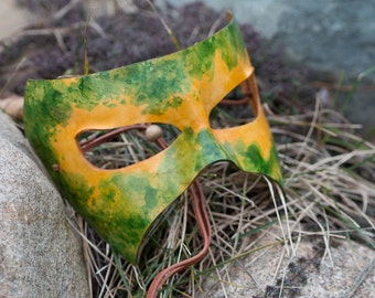 Leather Masquerade Green and Yellow Mask