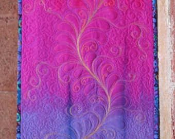 MarveLes TABLE RUNNER Custom Feather Quilted in Hand Dyed Purple Periwinkle Gold Pink Magenta