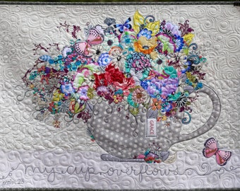 MarveLes MY CUP OVERFLOWS Collage Quilt Pattern Wall Hanging Floral  Home Decor Tea cup Coffee cup