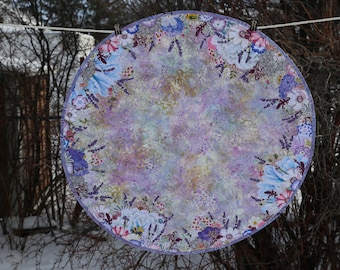 MarveLes LAVENDER Spring Periwinkle Blue White Floral Large Round Custom Quilted Table Topper Runner