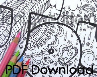 Joy - Name or Word Art - One Coloring Page - PDF Download - Hand Drawn Image