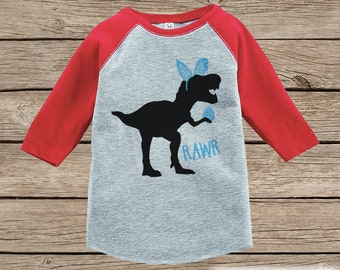 Boys Easter Outfit - Dinosaur Easter Shirt or Onepiece - Boy Easter Egg Hunt Shirt - Baby, Toddler, Youth - Bunny Ears - Easter Egg - Red