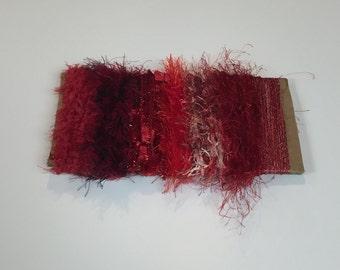 ice yarns SAMPLES fiber art bundle cards RED SHADES eyelash smooth fur polar angelo colorful jungle  crochet knitting left over yarn scrap