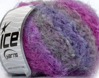 ICE YARNS Polar Eyelash Lilac Lavender Grey eyelash type yarn bulky chunky craft knitting crochet supply 50 gr 1 skein 46414