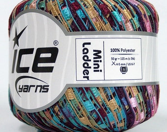 ice yarns mini ladder ribbon yarn trellis turquoise pink maroon beige  1 skein knitting crochet daily bulky chunky 46693