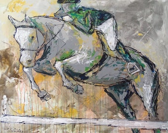 Large Horse Painting, Equestrian art, original Jumper Horse painting, canvas art, abstract, horse art, Fine Art, acrylic painting, Liz Wiley