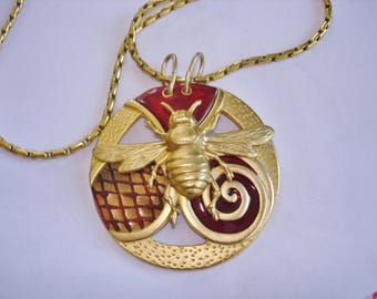 """Bee Abstract Pendant 2.25"""" Chain 28"""""""
