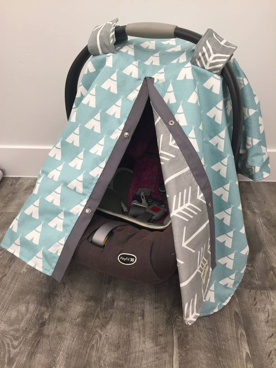 Teepee and Arrow car seat cover , carseat canopy , Teepee , Arrow , nursing cover , grey , light teal