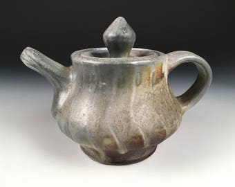 Teapot, Chinese Tea, Tea Ceremony, Woodfired Porcelain Blend Ceramic Pottery by Justin Lambert