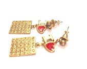 Vintage - Earrings - I Love Bingo Goldtone Bingo Card Post Earrings - Great Gift