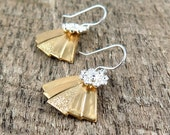 Art Deco Fan Earrings, Triangle Earrings, Silver Flower Earrings, Silver and Gold Jewelry, Christmas Gift