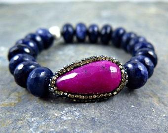 Blue Agate Bracelet, Ruby Quartz Bracelet, Quartz Hematite Bracelet, Blue Beaded Bracelet, Pink Crystal Bracelet, Pave Bracelet