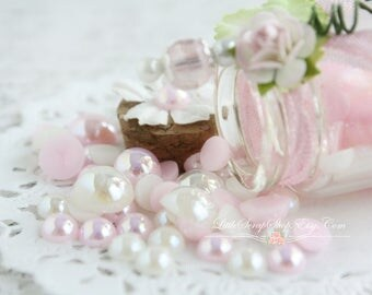 Iridescent Flat Back Pearls Glass Bottle  .5 Ounces, Acrylic, Pink and Cream, Scrapbook Embellishment, Little Scrap Shop