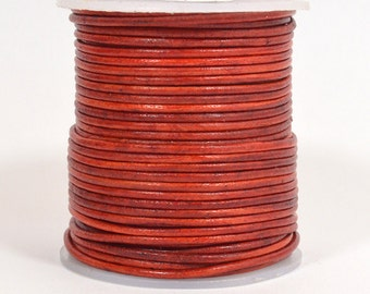 1.5mm Round Indian Leather - Natural Red - DC2