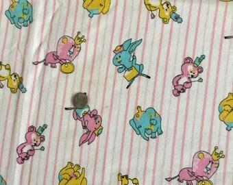 Vintage Mod Juvenile Fabric 1960s Flannel Animals 37W SALE