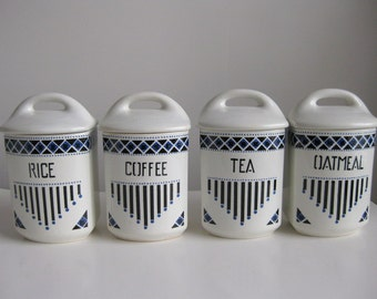 Vintage Czechoslovakia Yvonne ceramic canister set Blue and white canisters