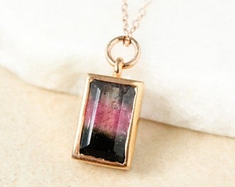 Rose Gold Tri- Color Watermelon Tourmaline Necklace, Tourmaline Jewelry, Heirloom Necklace