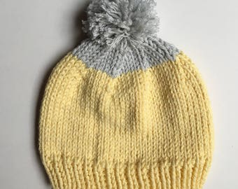 Knit Hat - NEWBORN 0-3 months - Yellow & Gray with PomPom - Ready to Ship