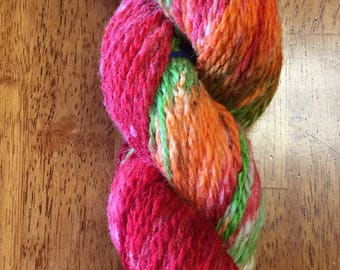 "Hand-Spun 100% Wool Yarn ""Mardi Gras"" Hand-Washed, Carded, Spun and Painted, 2 ply, Knit, Crochet, Weave, Aran and Worsted 154 yards"